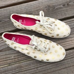 Kate Spade x Keds gold polka dot sneakers flats 9